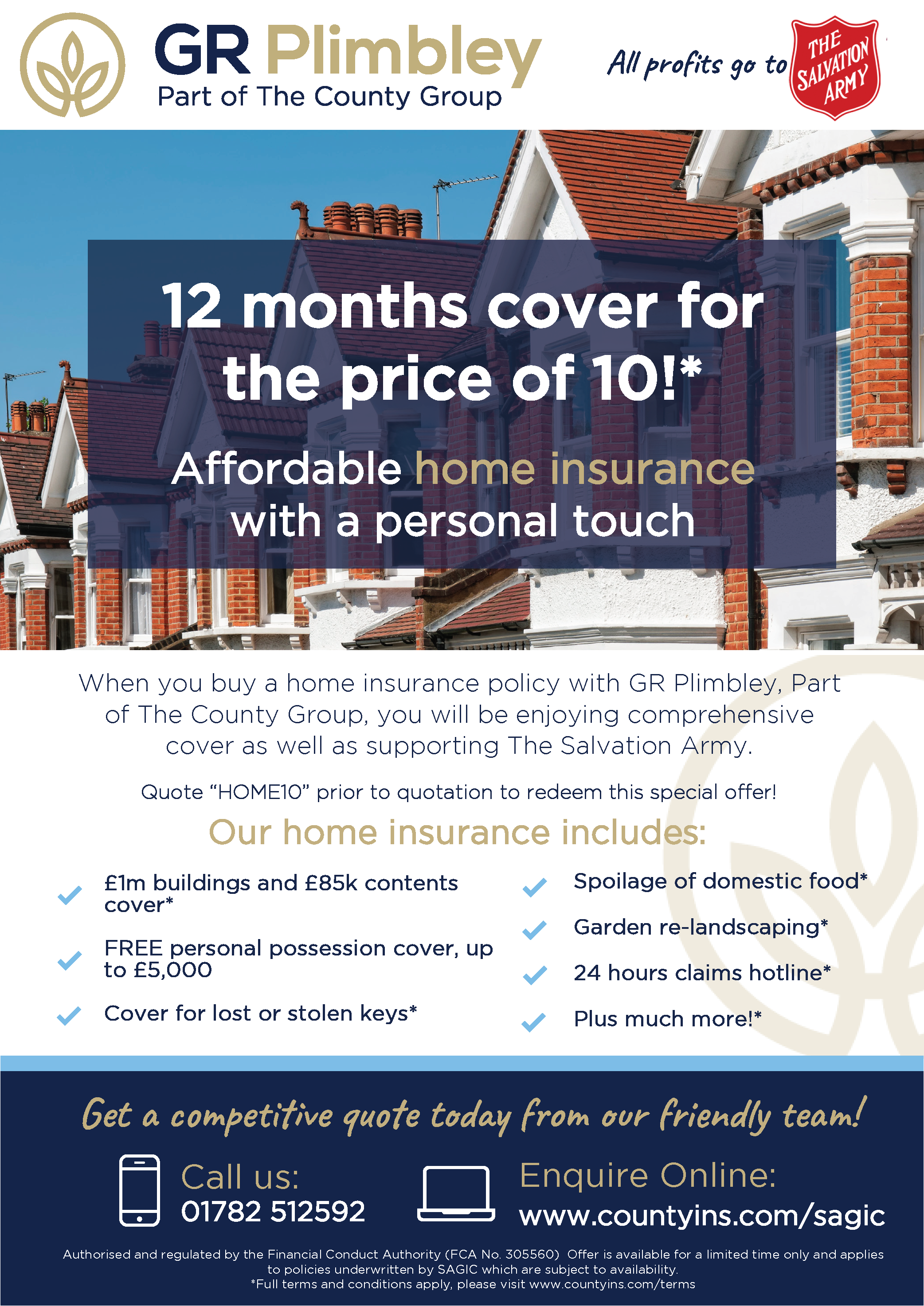 Plimbley Insurance 12 months for the price of 10 on Home ...